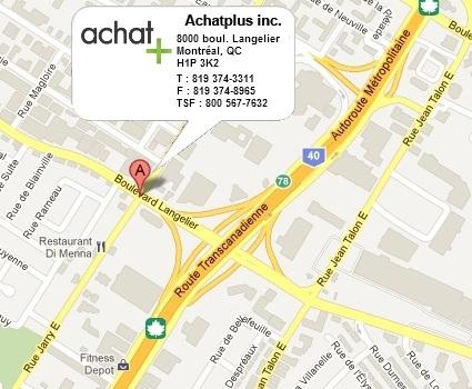 Localisation du bureau de Montréal d'Achatplus